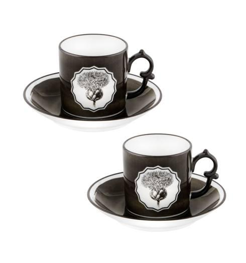 $140.00 Black Coffee Cups and Saucer – Set of 2