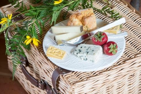 """$75.00 White Cheese Tray with Yellow Cheese – 12"""""""