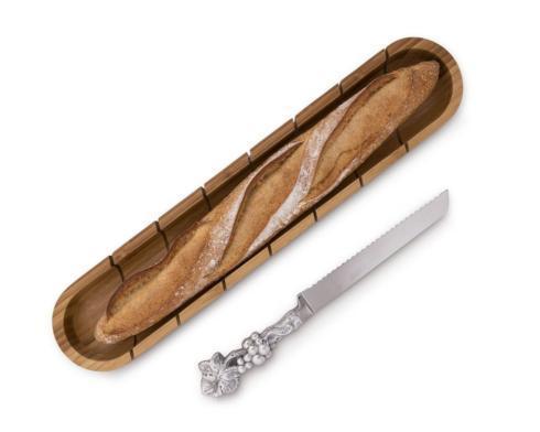 Baguette Board with Grape Bread Knife