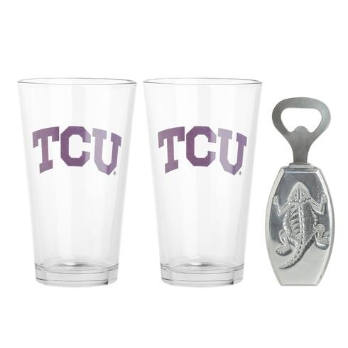 Arthur Court  Texas Christian University Pub Glass/Opener Set $40.00