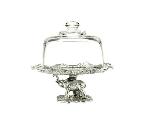 Arthur Court  Elephant Footed Plate w/Glass Dome $65.00