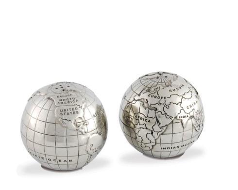 $100.00 Pewter World Globe Salt & Pepper
