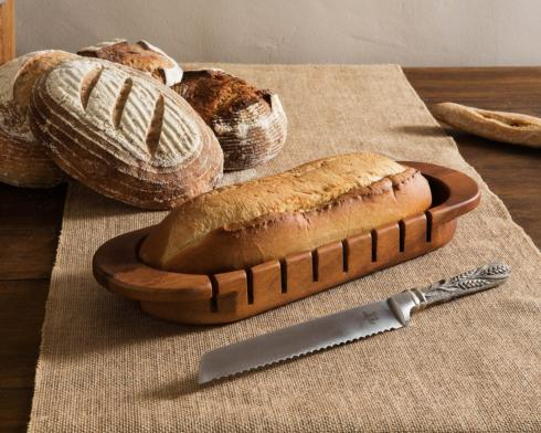 Oval Bread Board w/ Wheat Knife