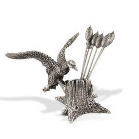 Vagabond House  Morning Hunt Pewter Mallard Duck Cheese Pick Set $57.00
