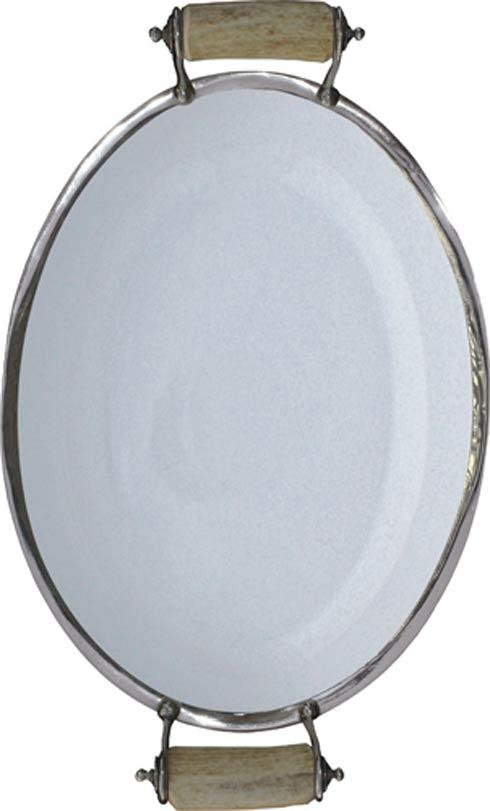 Vagabond House  Lodge Style Porcelain Tray Large - Horn Pewter $330.00