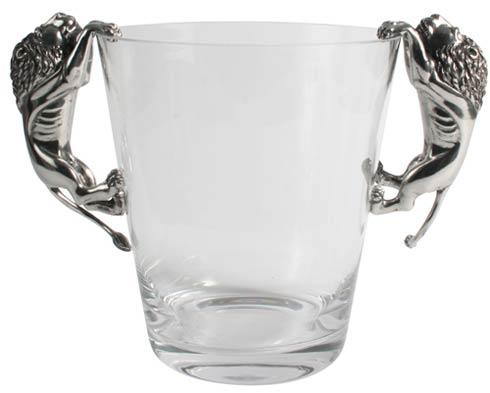 Lion Ice Bucket - Pewter And Glass