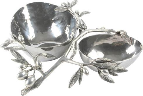 Vagabond House  Farmer's Market Double Bowl - Hammered Steel - Olive $195.00