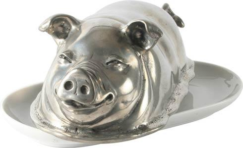 Vagabond House  Garden Friends Pewter Happy Pig Butter Dish $152.00