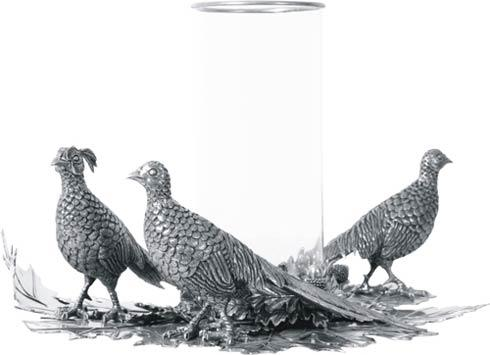 $847.00 Pewter Pheasants Pillar Hurricane Centerpiece