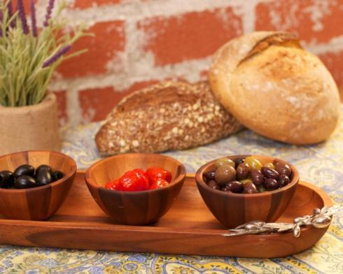 $114.00 BaguetteTray with Wood Bowls