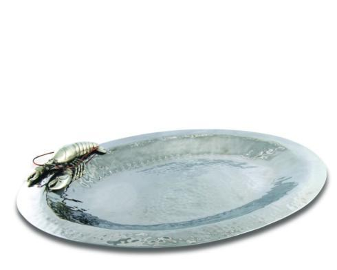 Vagabond House  Sea And Shore Serving Tray Large - Hammered Steel - Lobster $440.00