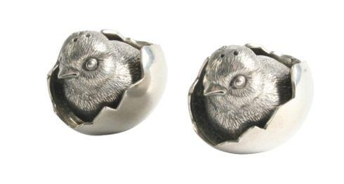 $88.00 Pewter Chicks in Eggs Salt and Pepper Set