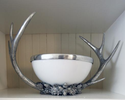 $495.00 Pewter Horn Rack Acorn Bowl