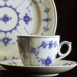 $170.00 Blue Fluted Plain Tea Cup and Saucer