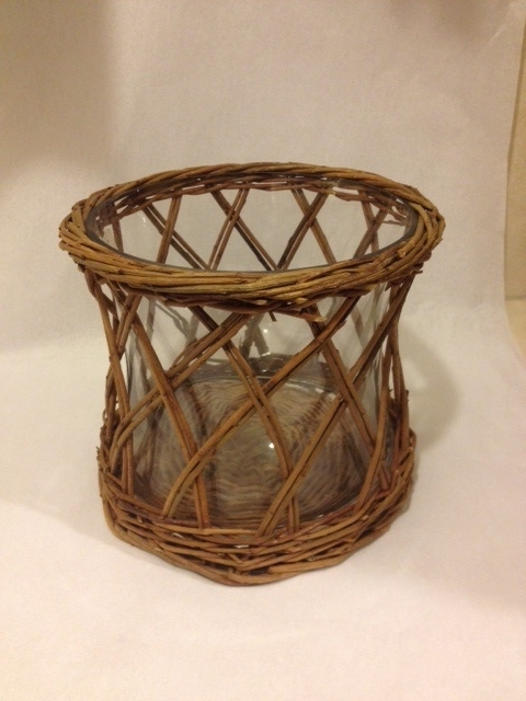 $32.00 Willow and Glass Candle Holder