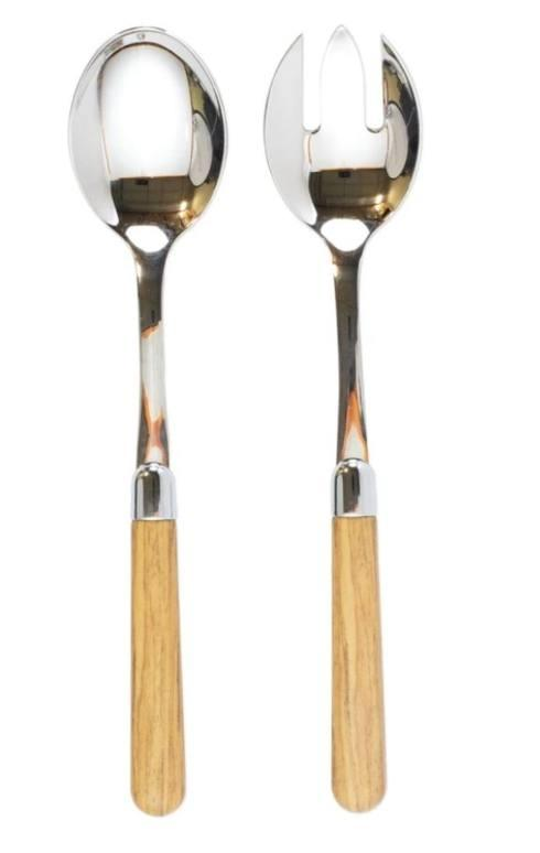 $68.00 Oak Salad Server Set
