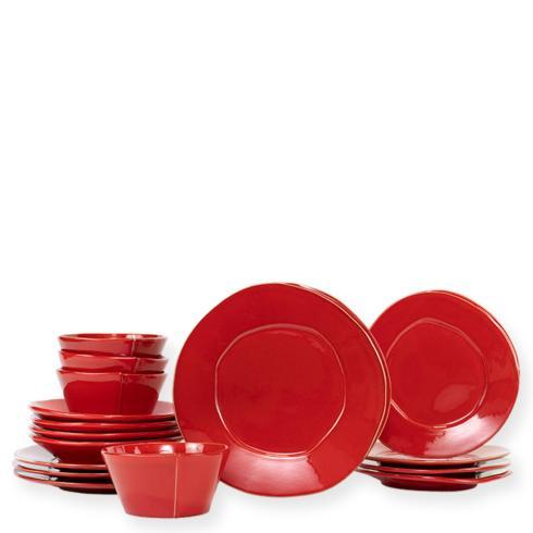 $524.00 Red Sixteen-Piece Place Setting