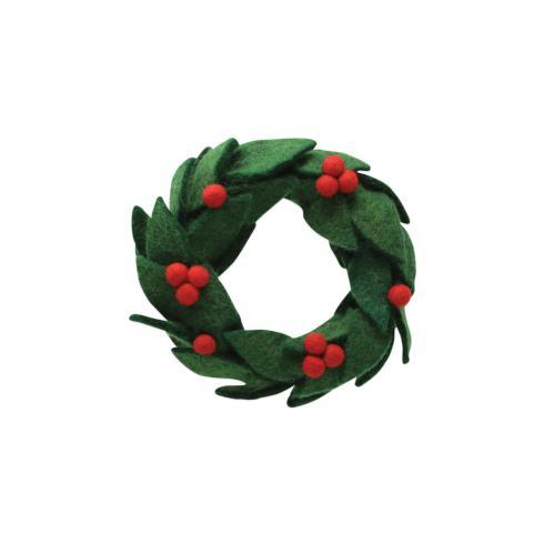 $18.00 Felt Wreath w/ Red Berries Ornament