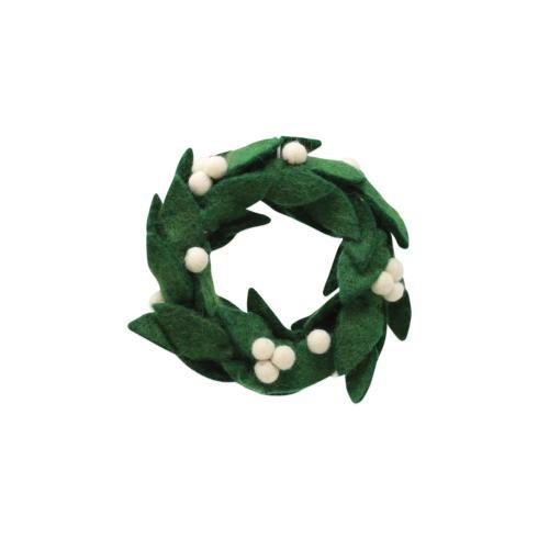 $18.00 Felt Wreath w/ White Berries Ornament