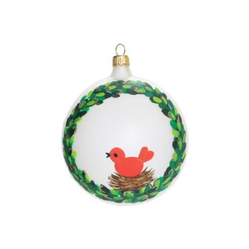 Wreath w/ Red Bird Ornament