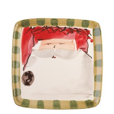 Vietri  Old St. Nick Square Salad Plate - Red Hat $48.00