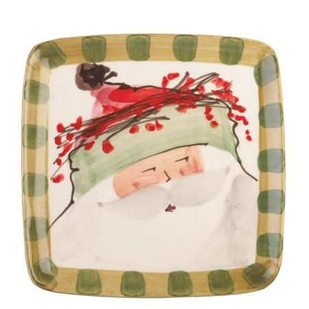 Vietri  Old St. Nick Square Salad Plate - Green Hat $48.00