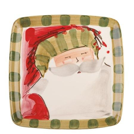Vietri  Old St. Nick Square Salad Plate - Striped Hat $48.00