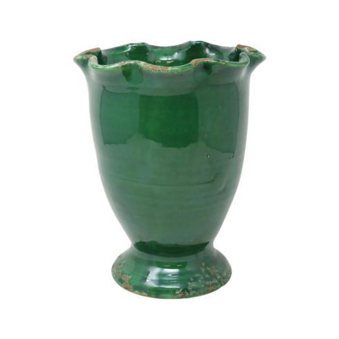 $94.00 Rustic Garden Emerald Green Medium Ruffled Cachepot