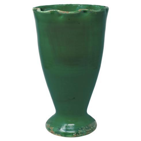 $128.00 Rustic Garden Emerald Green Ruffled Vase