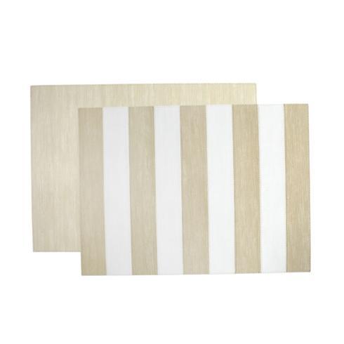 VIETRI  Reversible Placemats Cream/White Striped Rectangular Placemat $24.00