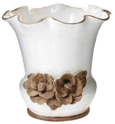 Scalloped Planter With Flowers