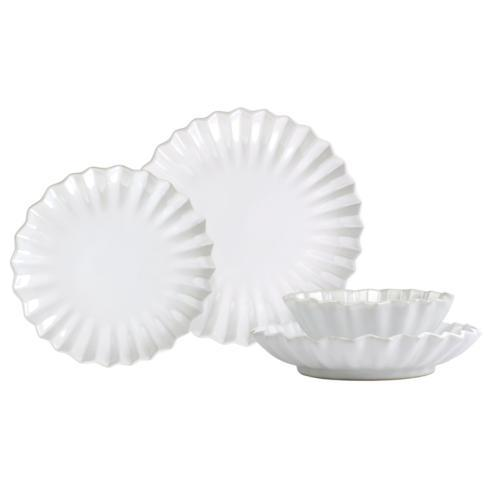 $198.00 White Pleated Four-Piece Place Setting