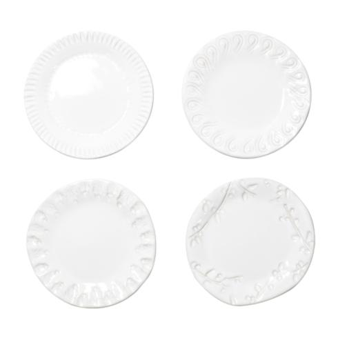 VIETRI Incanto Stone White Assorted Canape Plates - Set of 4 $120.00