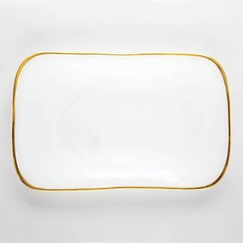 Vietri Alabaster Glass White w/ Gold Edge Rectangular Platter $68.00