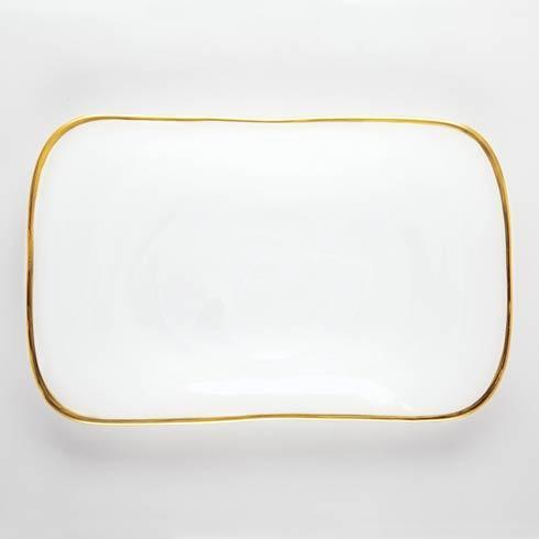 VIETRI  White w/ Gold Edge Rectangular Platter $68.00
