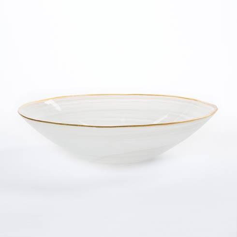VIETRI  White w/ Gold Edge Medium Serving Bowl $93.00