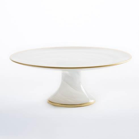 Vietri Alabaster Glass White w/ Gold Edge Small Footed Cake Stand $40.00
