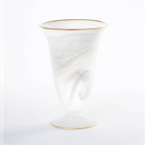 Vietri Alabaster Glass White w/ Gold Edge Medium Footed Vase $80.00