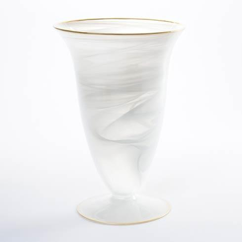 Vietri Alabaster Glass White w/ Gold Edge Large Footed Vase $95.00