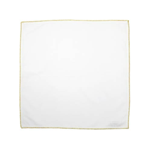 VIETRI Cotone Linens Ivory Napkins with Gold Stitching - Set of 4 $40.00