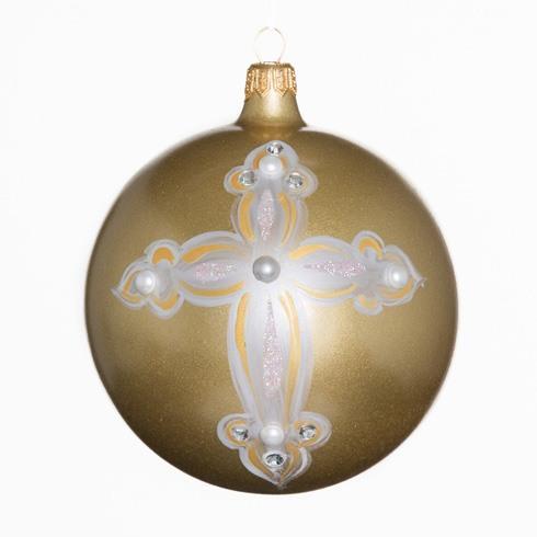 $38.00 Gold Metallic White Cross Ornament