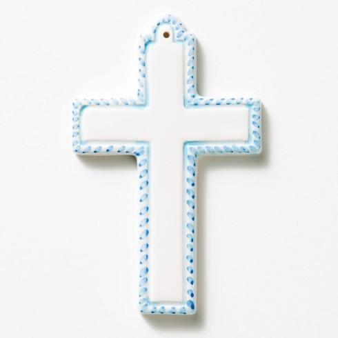 Blue Ceramic Cross Ornament