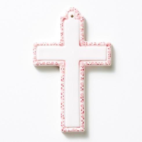 Pink Ceramic Cross Ornament
