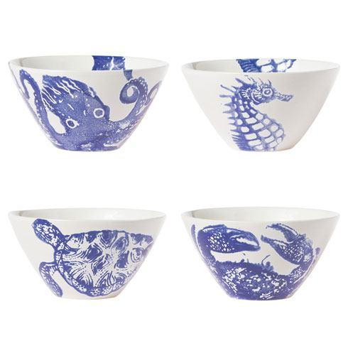 Vietri Costiera Assorted Blue Cereal Bowls Set of 4 $144.00