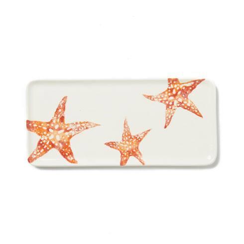 Vietri Costiera Coral Starfish Rectangular Tray $58.00