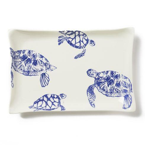 Vietri Costiera Blue Turtle Rectangular Platter $128.00