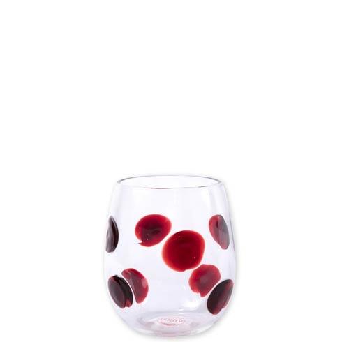 VIETRI  Drop Glass Red Stemless Wine Glass $51.00