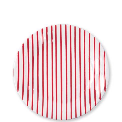VIETRI Net & Stripe Stripe Red Red Dinner Plate $44.00