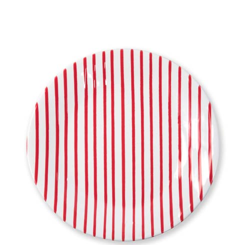 Vietri Net & Stripe Stripe Red Red Dinner Plate $44.00