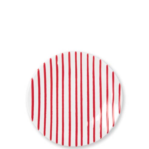 Vietri Net & Stripe Stripe Red Stripe Red Salad Plate $40.00